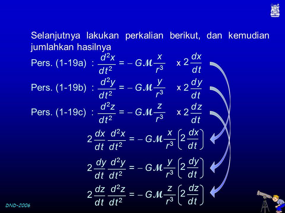 DND-2006 Selanjutnya lakukan perkalian berikut, dan kemudian jumlahkan hasilnya d 2yd 2y =  G M d t 2d t 2 y r 3r 3 Pers. (1-19b) : x d yd y 2 d td t