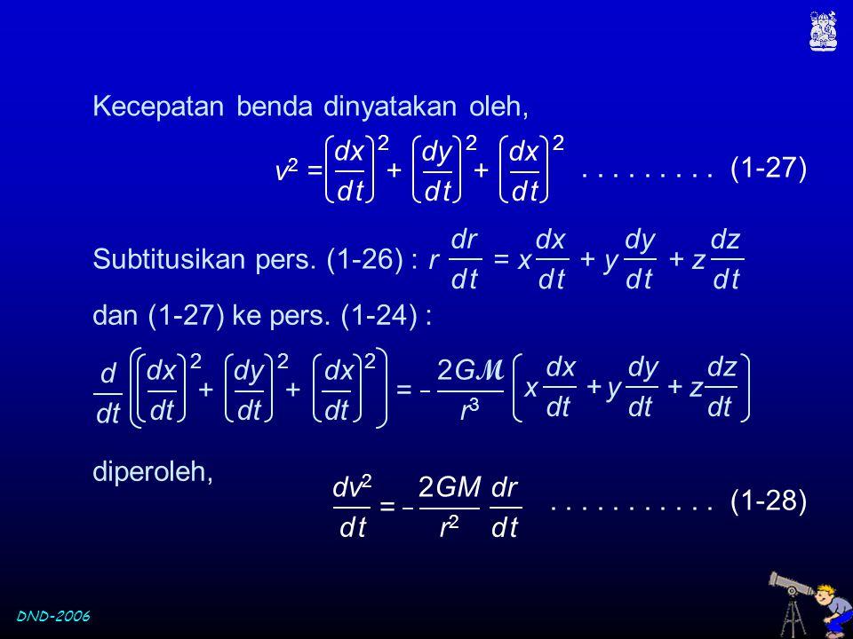 DND-2006 v 2 = + + dx d td t 2 dy d td t 2 dx d td t 2......... (1-27) Kecepatan benda dinyatakan oleh, Subtitusikan pers. (1-26) : dan (1-27) ke pers
