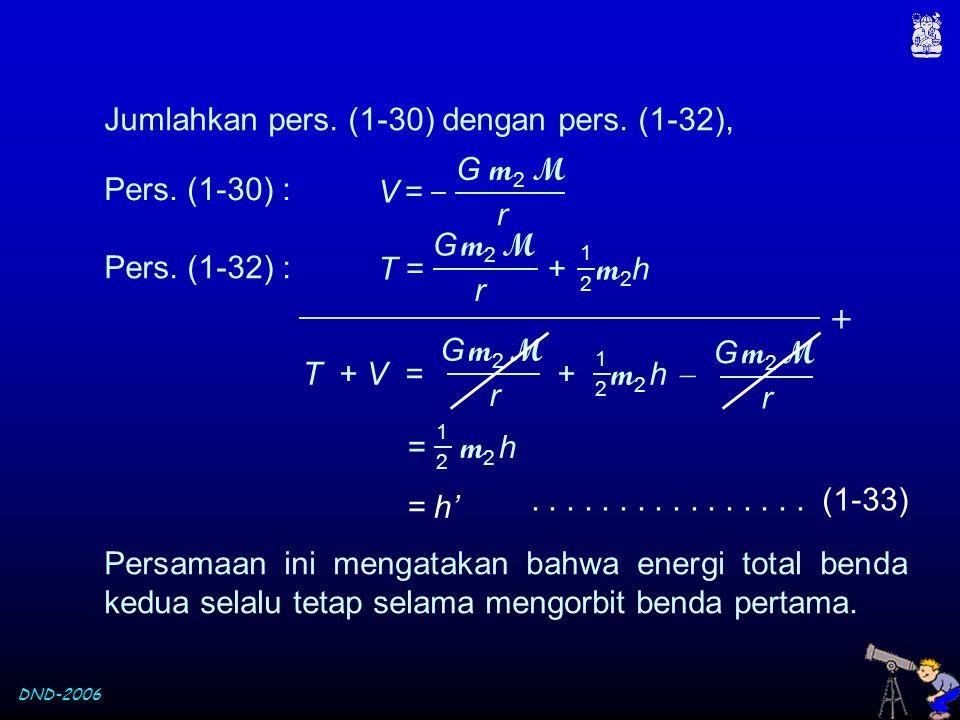 DND-2006 Pers. (1-30) : Pers. (1-32) : G m 2 M r V = V = T = + m 2 h 1 2 G m 2 M r T + V = + m 2 h  1 2 G m 2 M r G m2 MG m2 M r 1 2 = m 2 h = h'....