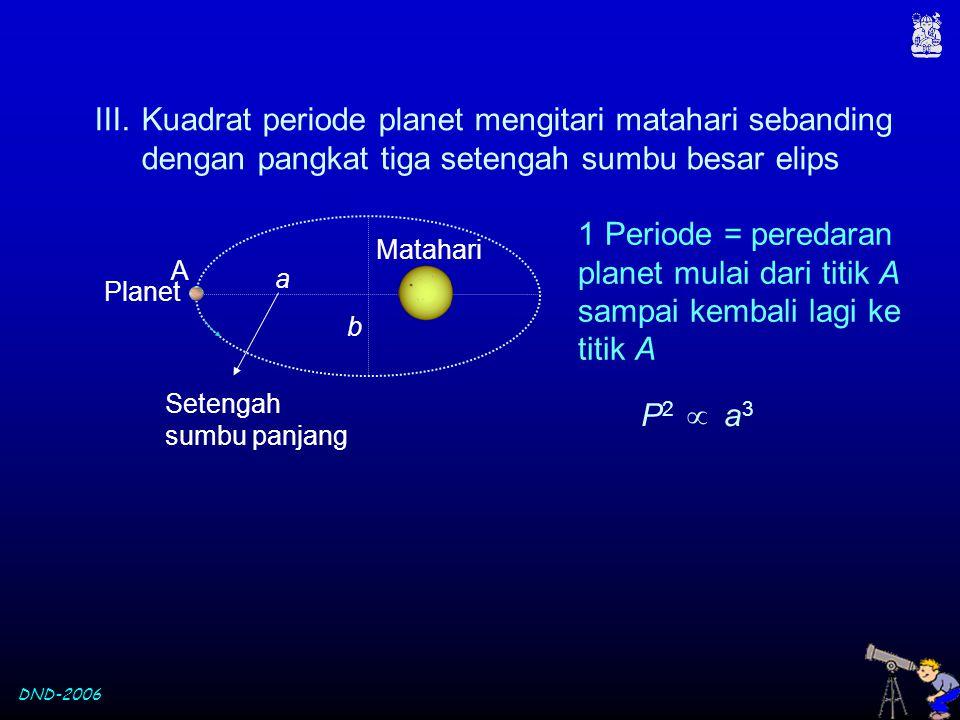 DND-2006 III.Kuadrat periode planet mengitari matahari sebanding dengan pangkat tiga setengah sumbu besar elips 1 Periode = peredaran planet mulai dar