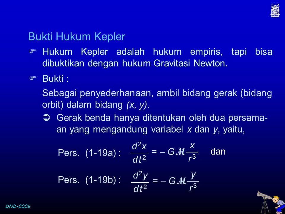 DND-2006 Sebagai penyederhanaan, ambil bidang gerak (bidang orbit) dalam bidang (x, y).  Hukum Kepler adalah hukum empiris, tapi bisa dibuktikan deng