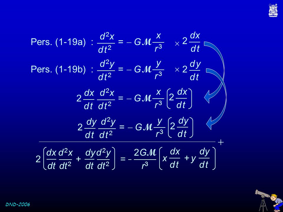 DND-2006 d 2yd 2y =  G M d t 2d t 2 y r 3r 3 Pers. (1-19b) :  d yd y 2 d td t 2 d 2xd 2x =  G M d t 2d t 2 x r 3r 3 Pers. (1-19a) :  dx d td t d 2