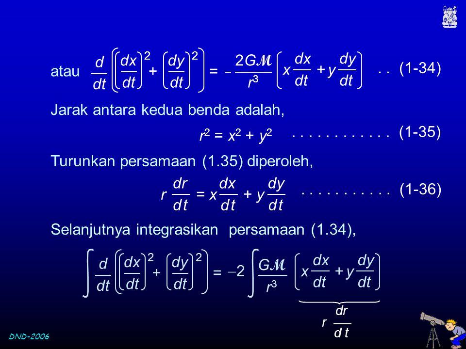 DND-2006 atau.. (1-34) d dt 2GM2GM r3r3 x + y dx dt dy dt + = dx dt 2 dy dt 2 Jarak antara kedua benda adalah, r 2 = x 2 + y 2............ (1-35) Turu