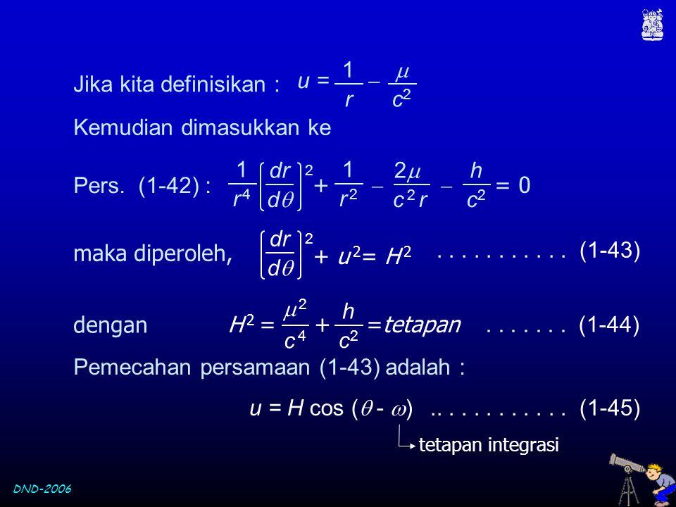 DND-2006 Jika kita definisikan : Kemudian dimasukkan ke u =   c2c2 1 r +   = 0 dr dd 1 r 4r 4 1 r 2r 2 22 c 2 r 2 h c2c2 Pers. (1-42) : maka d
