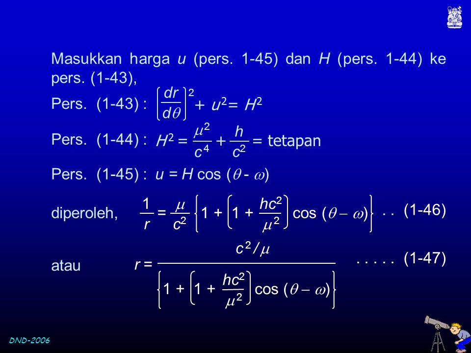 DND-2006 Masukkan harga u (pers. 1-45) dan H (pers. 1-44) ke pers. (1-43), = 1 + 1 + cos (    )  c2c2 1 r hc 2  2 2 + u 2 = H 2 dr dd 2 Pers.