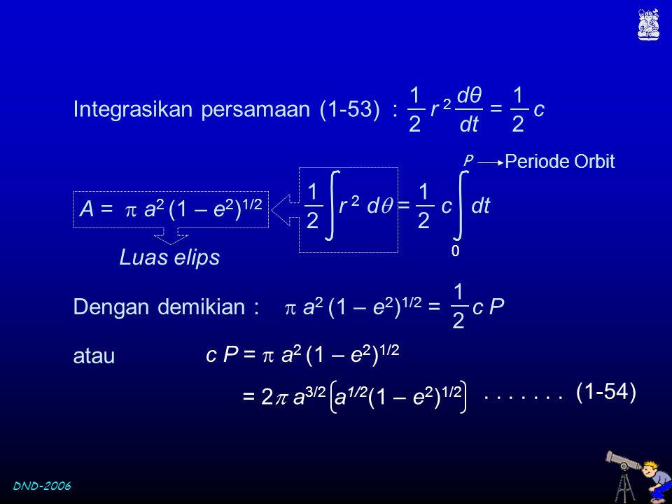 DND-2006 Integrasikan persamaan (1-53) : r 2 = c dθdθ dt 1 2 1 2 A =  a 2 (1 – e 2 ) 1/2 r 2 d  = c dt 1 2 1 2 0 P Periode Orbit Luas elips Dengan d