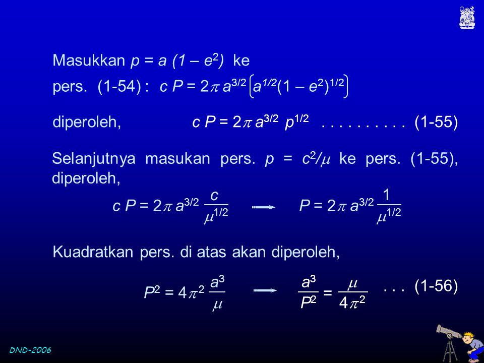 DND-2006 Masukkan p = a (1 – e 2 ) ke c P = 2  a 3/2 a 1/2 (1 – e 2 ) 1/2 pers. (1-54) : c P = 2  a 3/2 p 1/2 diperoleh,.......... (1-55) Selanjutny