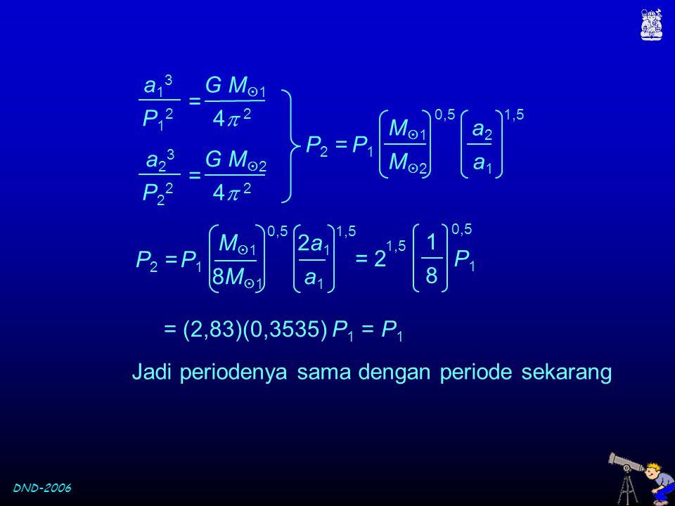 DND-2006 Jadi periodenya sama dengan periode sekarang P12P12 a13a13 4 24 2 G M  1 = a23a23 P22P22 4 24 2 G M  2 = M  1 8M1 8M1 0,5 8 P 2 =P1P