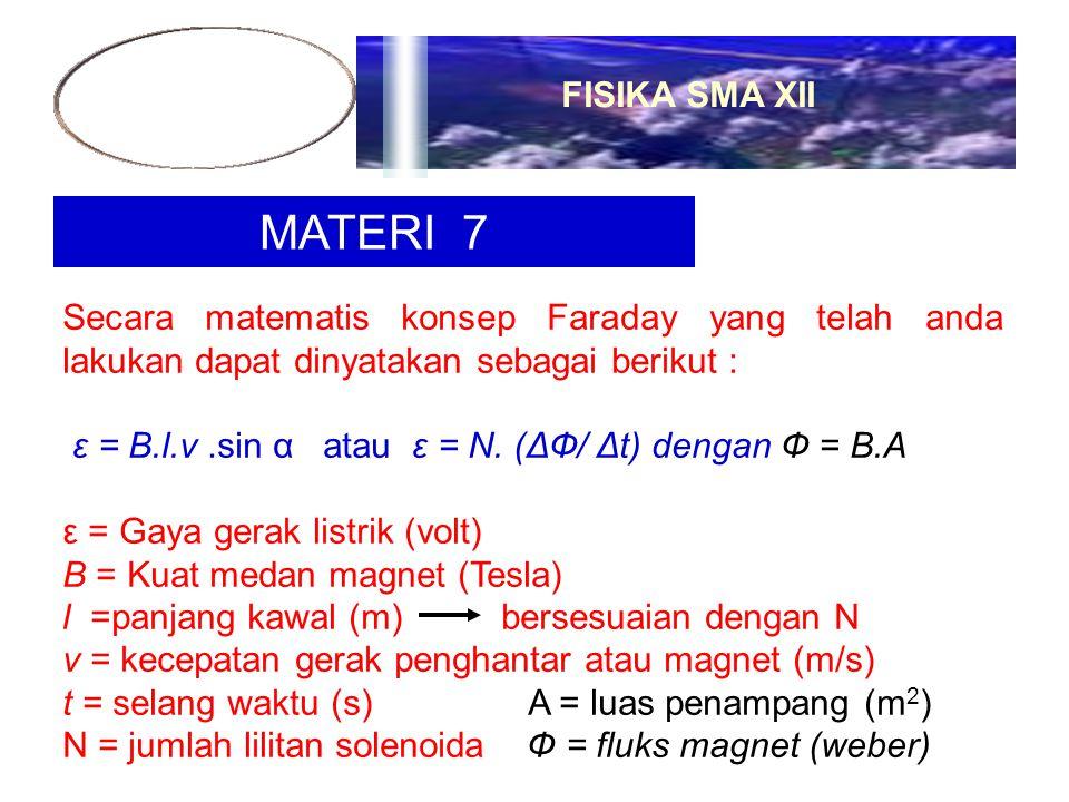 MATERI 7 Secara matematis konsep Faraday yang telah anda lakukan dapat dinyatakan sebagai berikut : ε = B.l.v.sin α atau ε = N. (ΔФ/ Δt) dengan Ф = B.