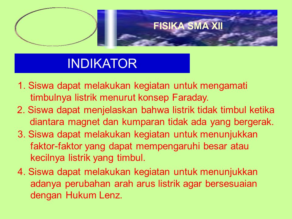 INDIKATOR 1. Siswa dapat melakukan kegiatan untuk mengamati timbulnya listrik menurut konsep Faraday. 2. Siswa dapat menjelaskan bahwa listrik tidak t