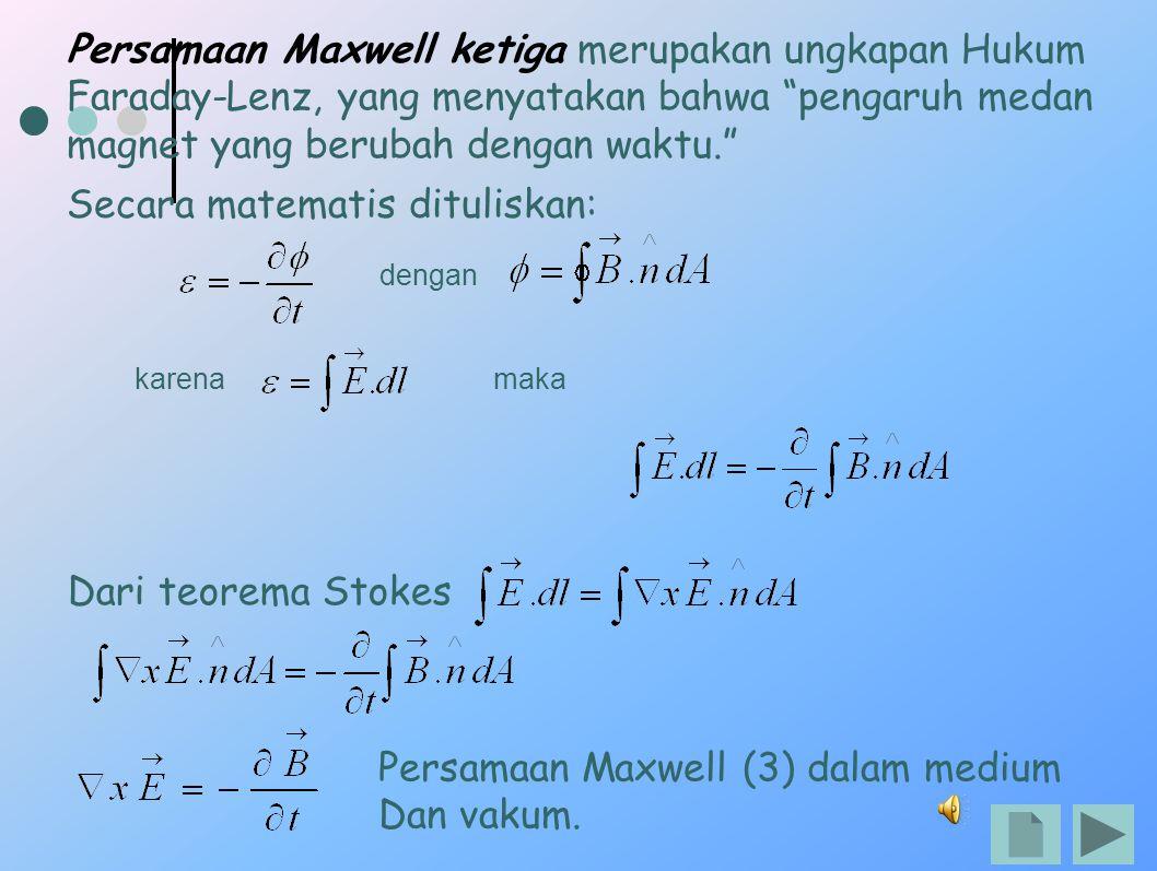 """Persamaan Maxwell ketiga merupakan ungkapan Hukum Faraday-Lenz, yang menyatakan bahwa """"pengaruh medan magnet yang berubah dengan waktu."""" Secara matema"""