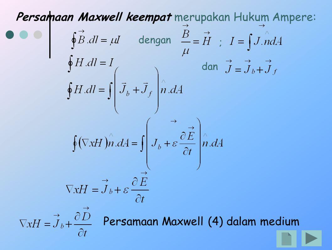 Persamaan Maxwell keempat merupakan Hukum Ampere: Persamaan Maxwell (4) dalam medium dengan ; dan