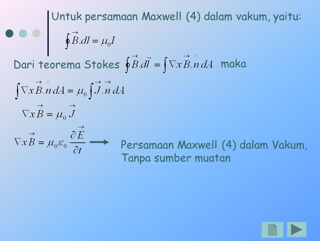 Untuk persamaan Maxwell (4) dalam vakum, yaitu: Dari teorema Stokes maka Persamaan Maxwell (4) dalam Vakum, Tanpa sumber muatan