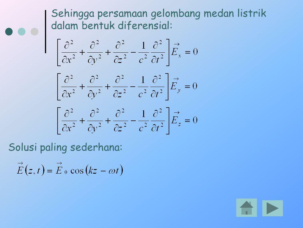 Sehingga persamaan gelombang medan listrik dalam bentuk diferensial: Solusi paling sederhana: