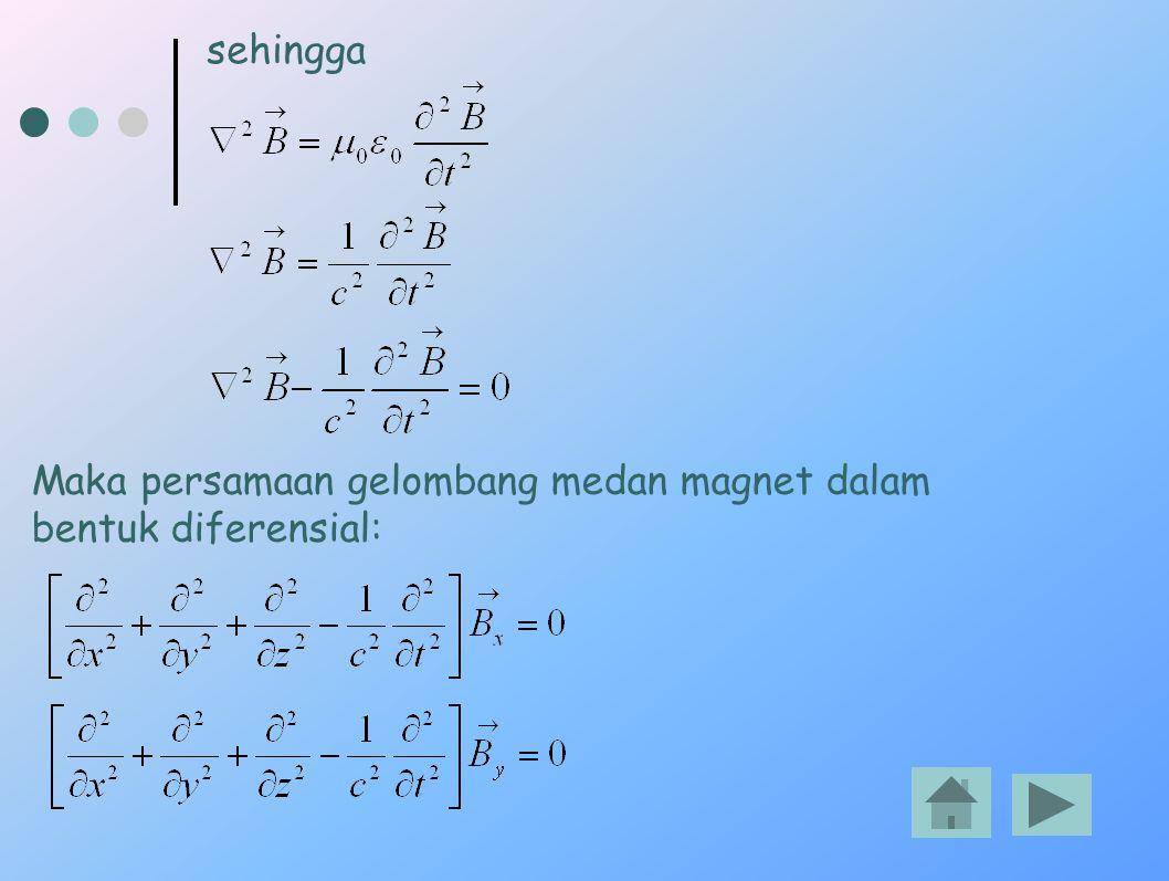 Maka persamaan gelombang medan magnet dalam bentuk diferensial: sehingga