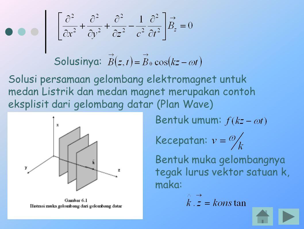 Solusinya: Solusi persamaan gelombang elektromagnet untuk medan Listrik dan medan magnet merupakan contoh eksplisit dari gelombang datar (Plan Wave) B
