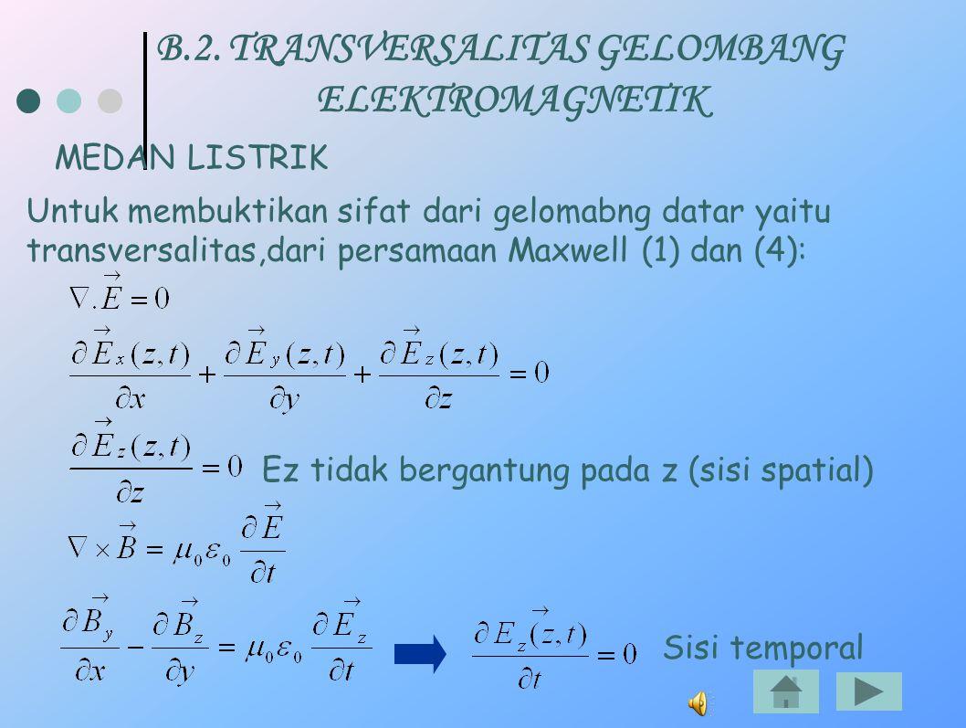 B.2. TRANSVERSALITAS GELOMBANG ELEKTROMAGNETIK MEDAN LISTRIK Untuk membuktikan sifat dari gelomabng datar yaitu transversalitas,dari persamaan Maxwell