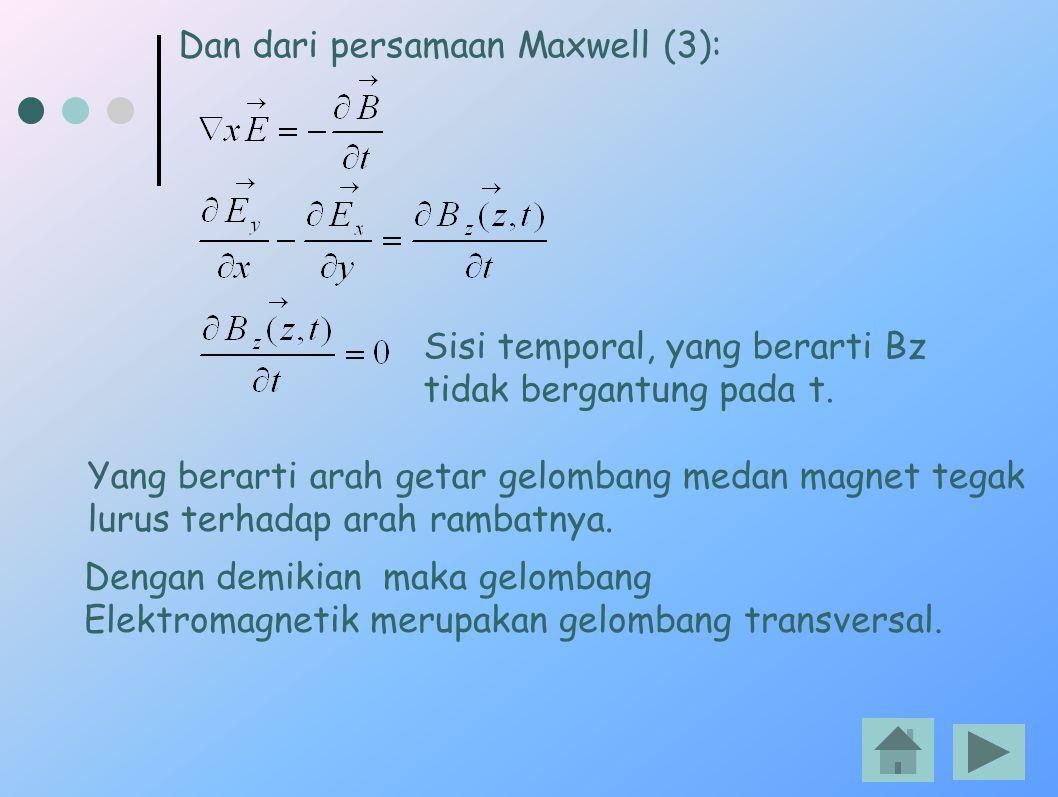 Dan dari persamaan Maxwell (3): Sisi temporal, yang berarti Bz tidak bergantung pada t. Yang berarti arah getar gelombang medan magnet tegak lurus ter