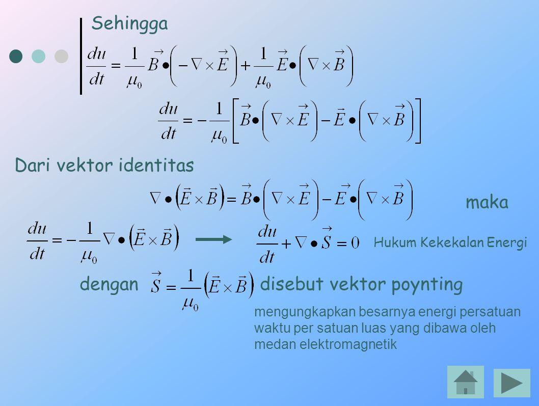 Sehingga Dari vektor identitas maka dengan disebut vektor poynting Hukum Kekekalan Energi mengungkapkan besarnya energi persatuan waktu per satuan lua