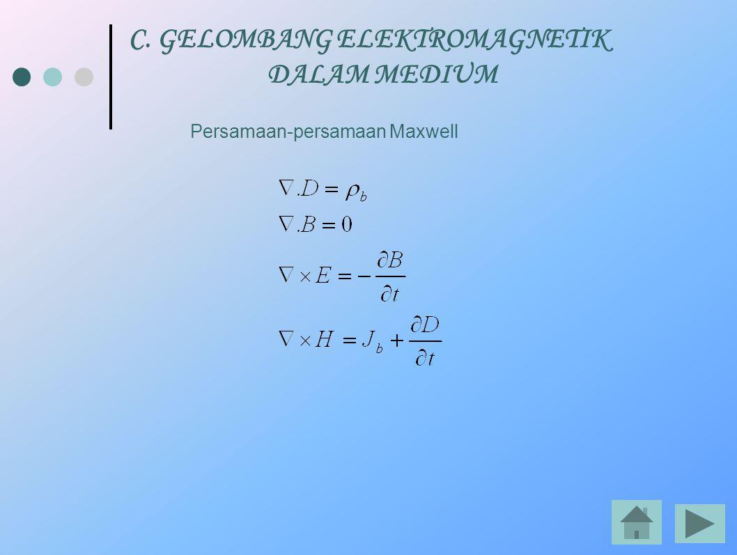 C. GELOMBANG ELEKTROMAGNETIK DALAM MEDIUM Persamaan-persamaan Maxwell