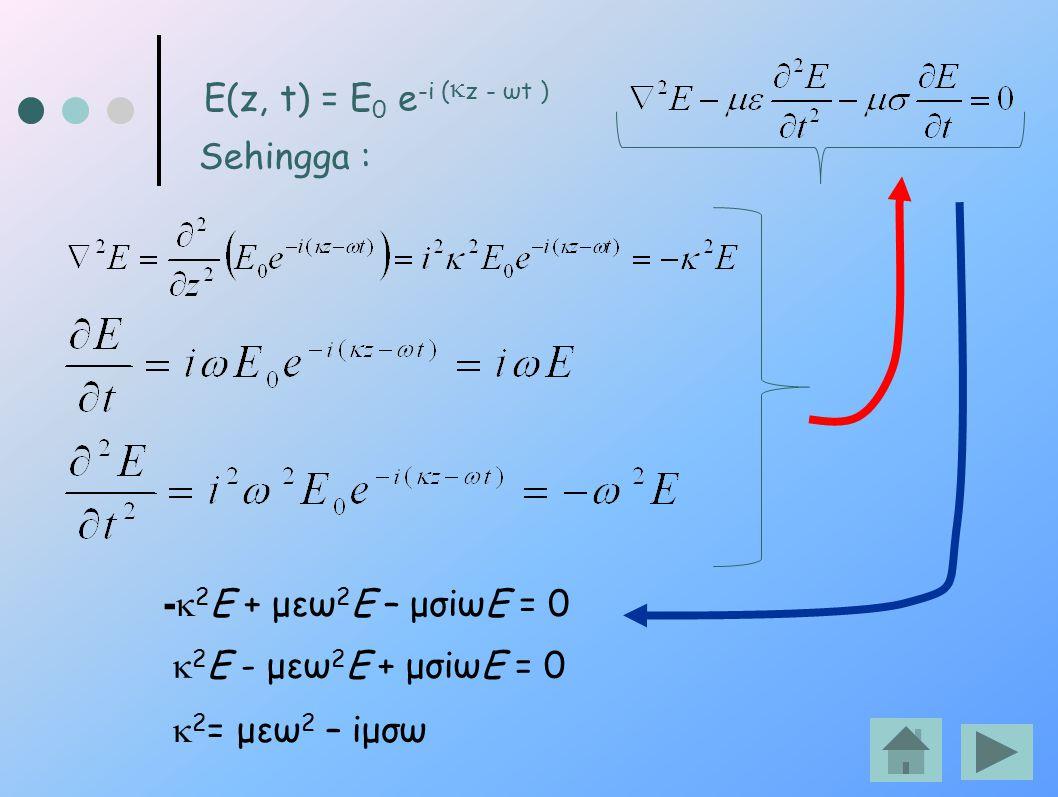 Sehingga : E(z, t) = E 0 e -i (  z - ωt ) -  2 E + μεω 2 E – μσiωE = 0  2 E - μεω 2 E + μσiωE = 0  2 = μεω 2 – iμσω