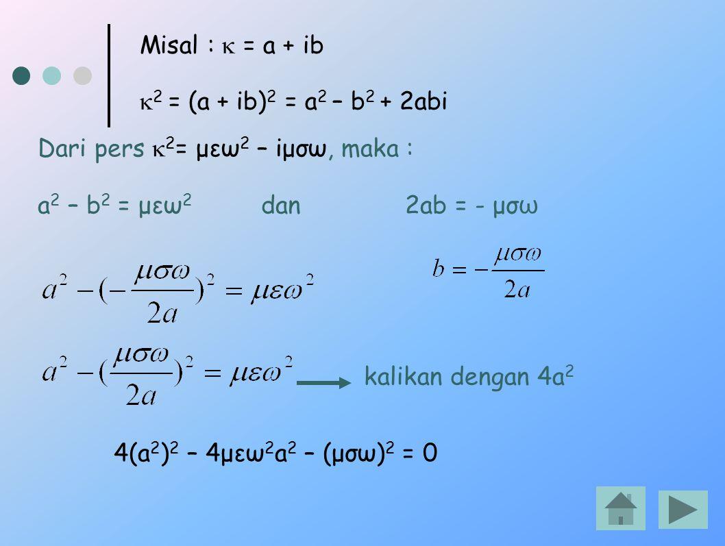 Misal :  = a + ib  2 = (a + ib) 2 = a 2 – b 2 + 2abi Dari pers  2 = μεω 2 – iμσω, maka : a 2 – b 2 = μεω 2 dan 2ab = - μσ ω kalikan dengan 4a 2 4(a