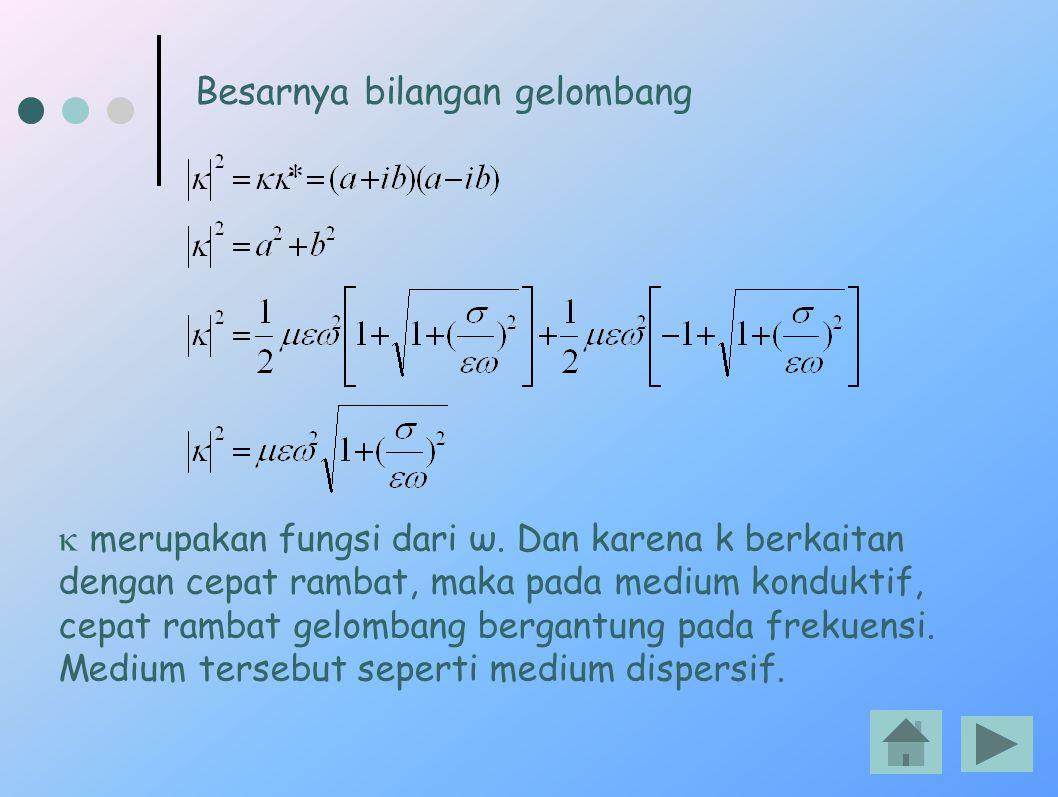  merupakan fungsi dari ω. Dan karena k berkaitan dengan cepat rambat, maka pada medium konduktif, cepat rambat gelombang bergantung pada frekuensi. M