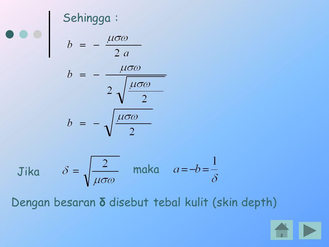 Sehingga : Jika maka Dengan besaran δ disebut tebal kulit (skin depth)