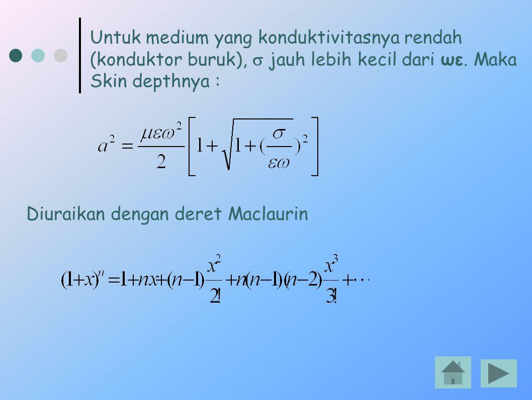 Untuk medium yang konduktivitasnya rendah (konduktor buruk),  jauh lebih kecil dari ωε. Maka Skin depthnya : Diuraikan dengan deret Maclaurin