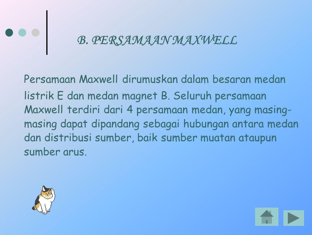 B. PERSAMAAN MAXWELL Persamaan Maxwell dirumuskan dalam besaran medan listrik E dan medan magnet B. Seluruh persamaan Maxwell terdiri dari 4 persamaan