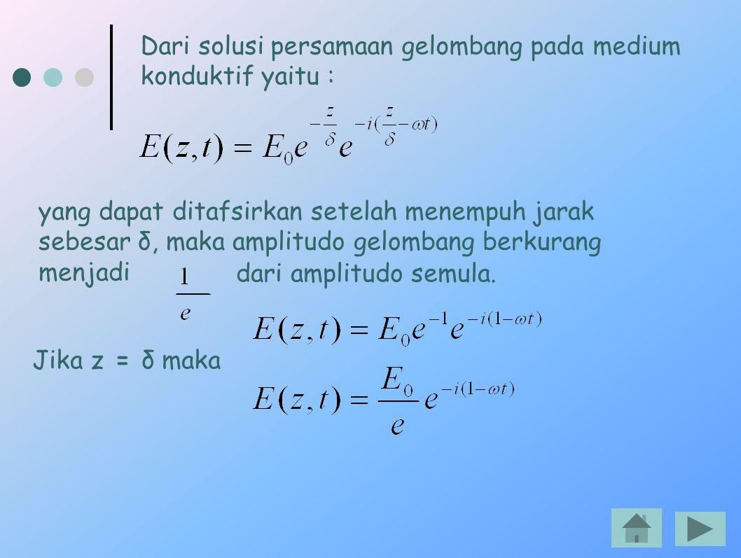 Dari solusi persamaan gelombang pada medium konduktif yaitu : yang dapat ditafsirkan setelah menempuh jarak sebesar δ, maka amplitudo gelombang berkur