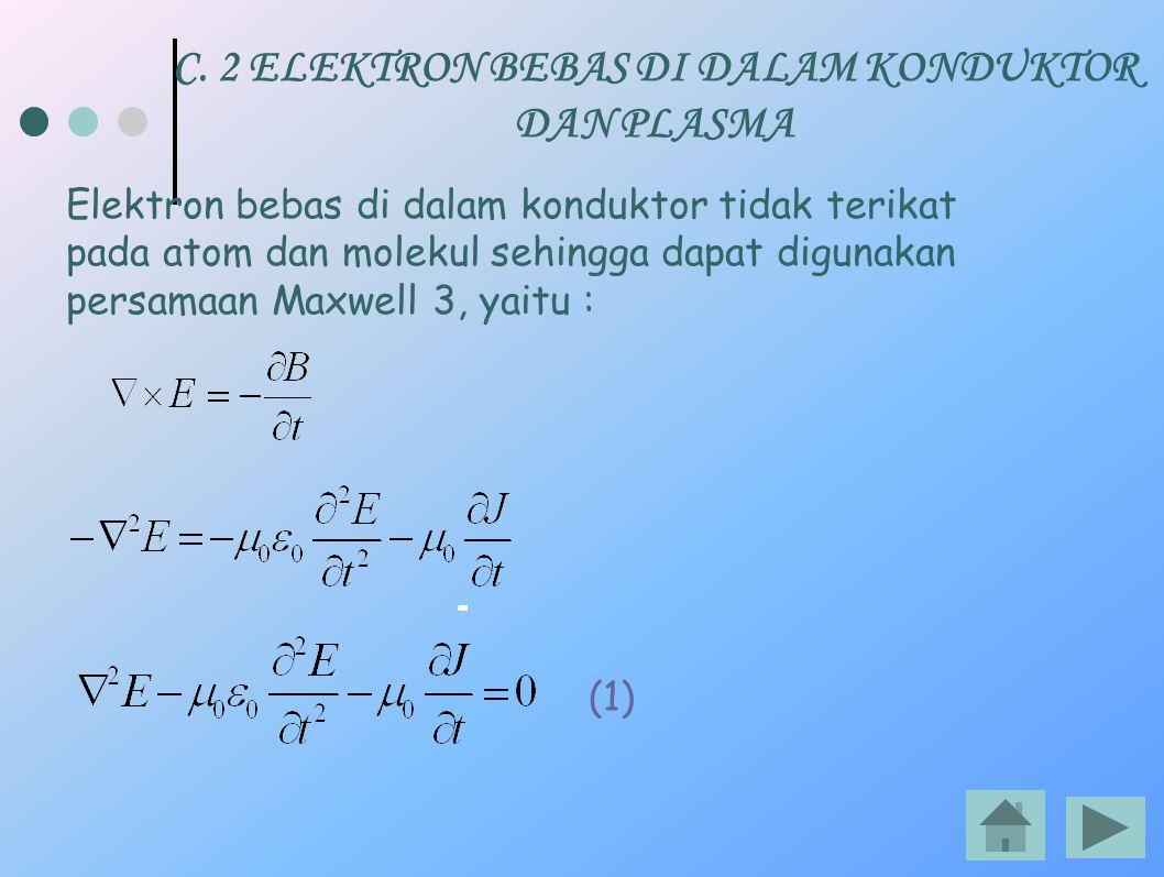 C. 2 ELEKTRON BEBAS DI DALAM KONDUKTOR DAN PLASMA Elektron bebas di dalam konduktor tidak terikat pada atom dan molekul sehingga dapat digunakan persa