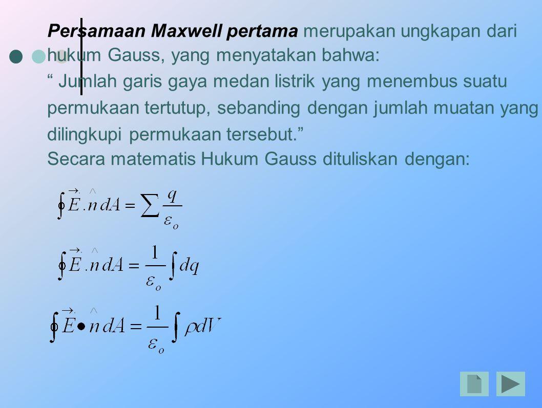 """Persamaan Maxwell pertama merupakan ungkapan dari hukum Gauss, yang menyatakan bahwa: """" Jumlah garis gaya medan listrik yang menembus suatu permukaan"""