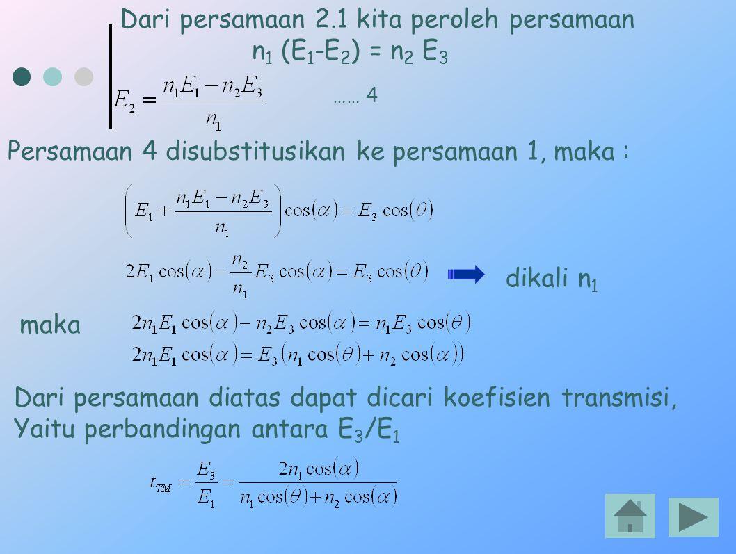 Dari persamaan 2.1 kita peroleh persamaan n 1 (E 1 -E 2 ) = n 2 E 3 …… 4 Persamaan 4 disubstitusikan ke persamaan 1, maka : dikali n 1 maka Dari persa