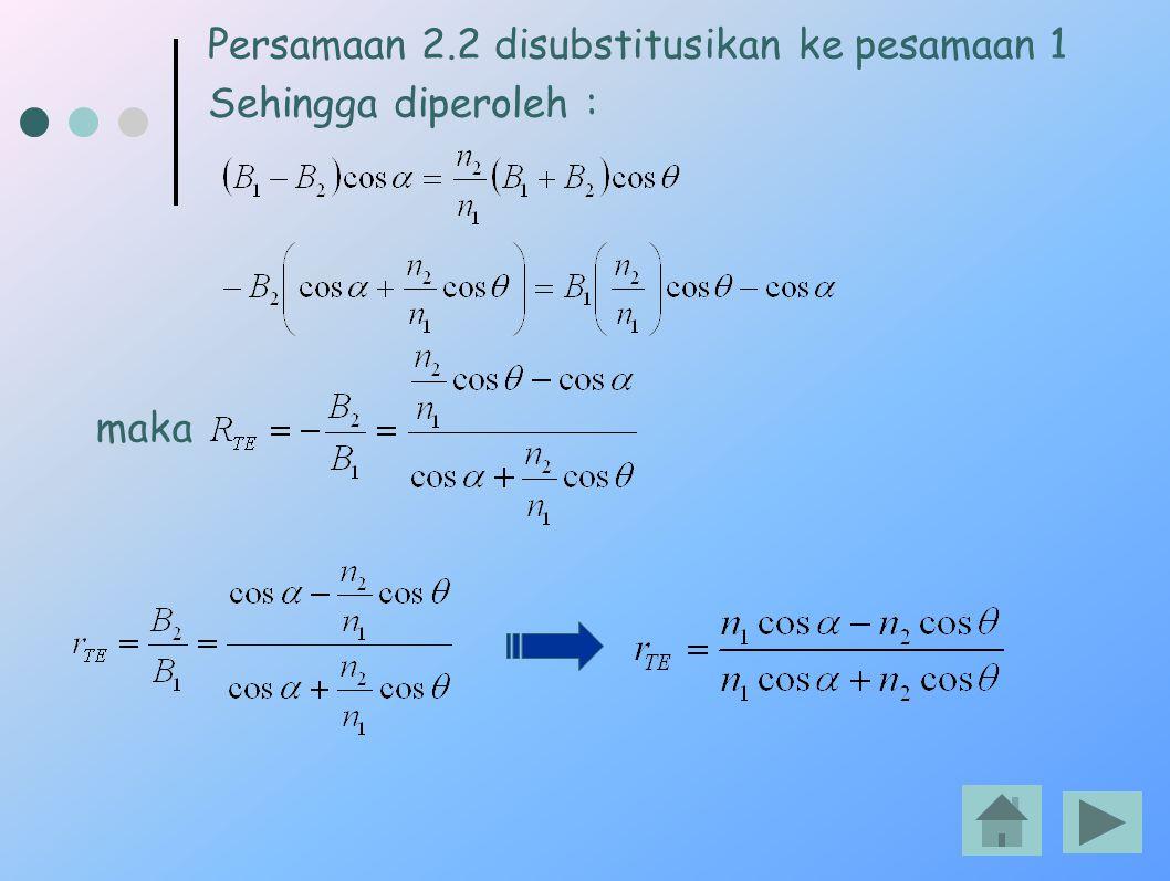 Persamaan 2.2 disubstitusikan ke pesamaan 1 Sehingga diperoleh : maka