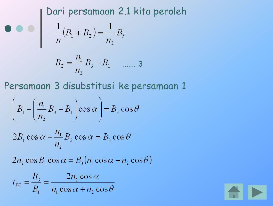 Dari persamaan 2.1 kita peroleh....... 3 Persamaan 3 disubstitusi ke persamaan 1