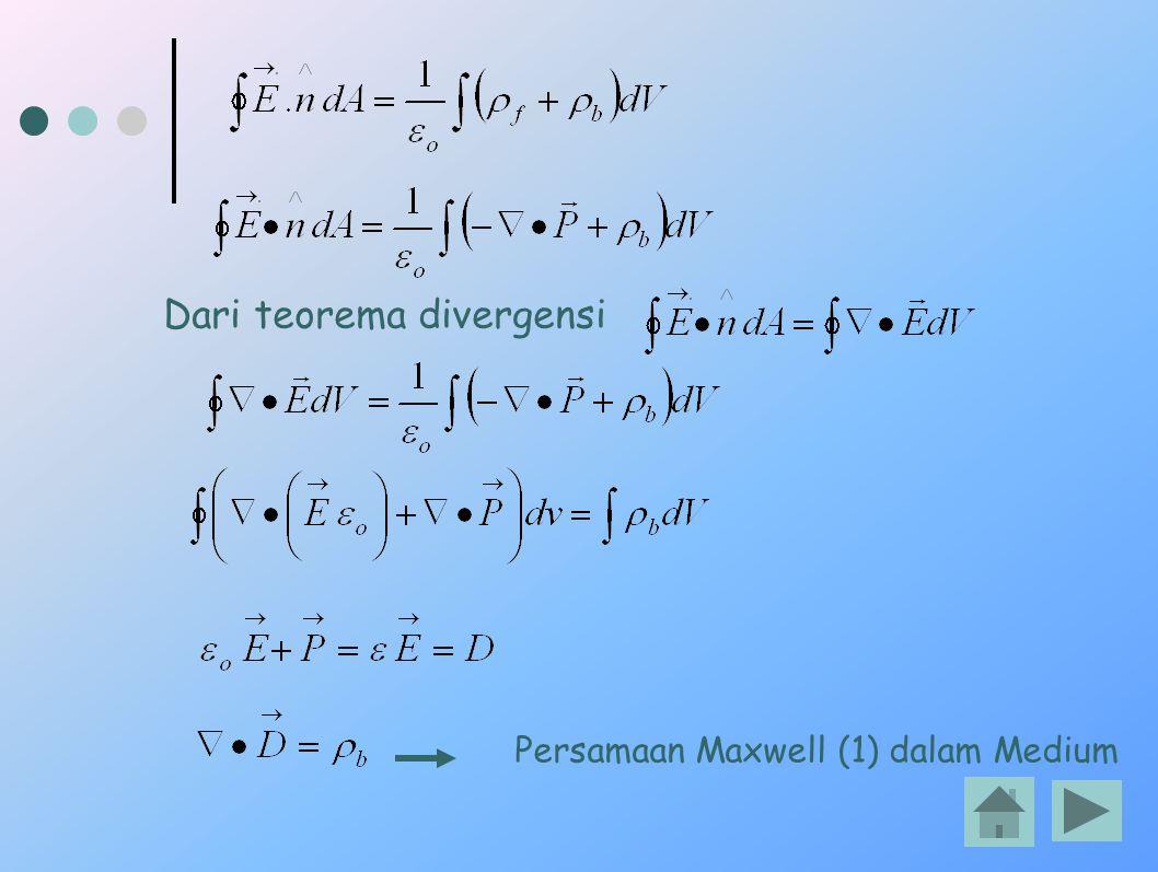 Persamaan Maxwell (1) dalam Medium Dari teorema divergensi