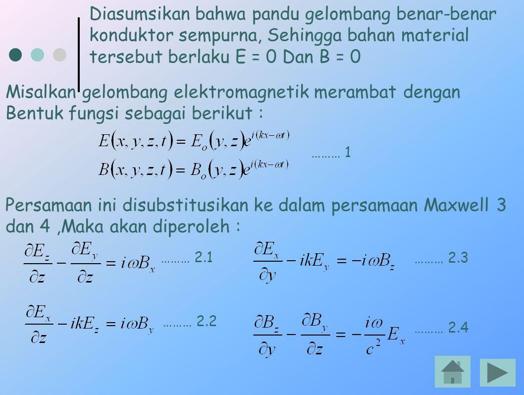 Diasumsikan bahwa pandu gelombang benar-benar konduktor sempurna, Sehingga bahan material tersebut berlaku E = 0 Dan B = 0 Misalkan gelombang elektrom