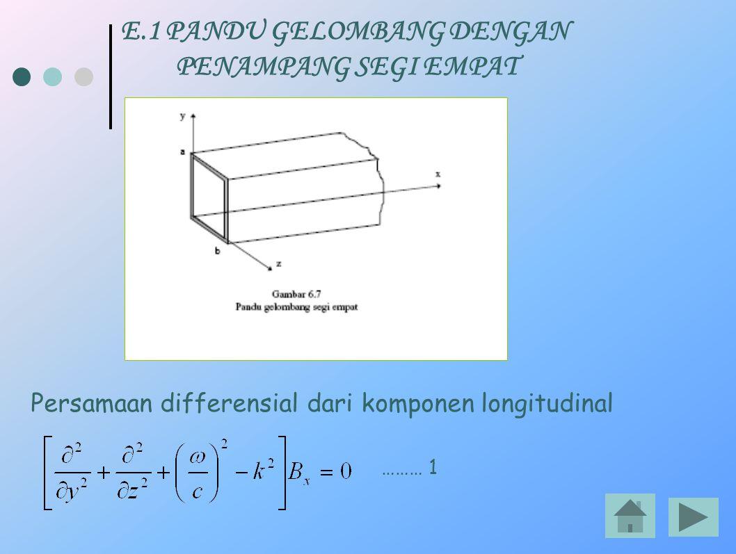 E.1 PANDU GELOMBANG DENGAN PENAMPANG SEGI EMPAT Persamaan differensial dari komponen longitudinal ……… 1