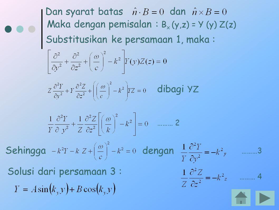 Dan syarat batas dan Maka dengan pemisalan : B x (y,z) = Y (y) Z(z) Substitusikan ke persamaan 1, maka : Sehingga dengan Solusi dari persamaan 3 : dib