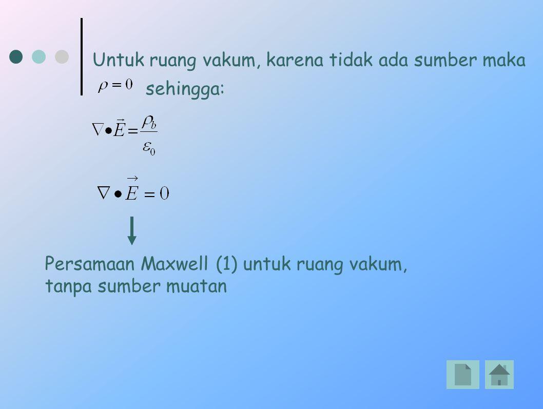 Untuk ruang vakum, karena tidak ada sumber maka sehingga: Persamaan Maxwell (1) untuk ruang vakum, tanpa sumber muatan