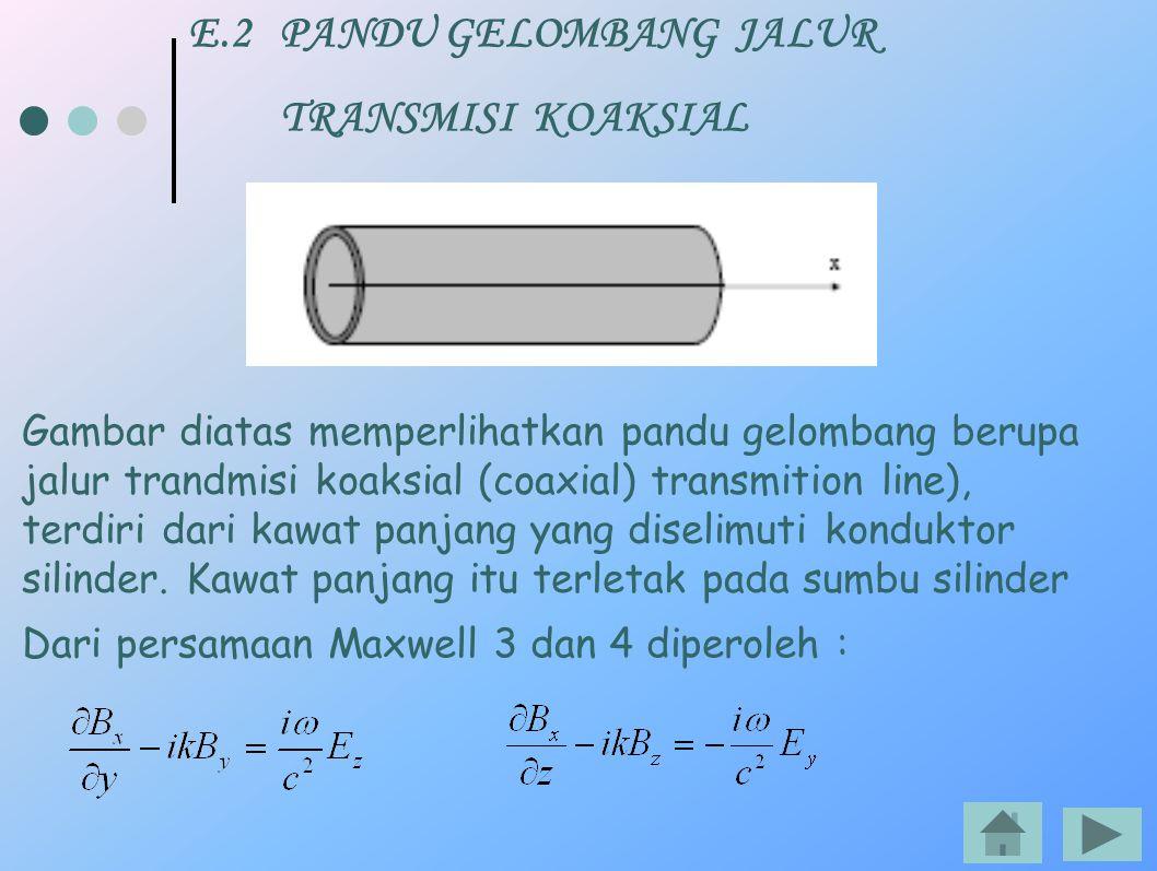 E.2 PANDU GELOMBANG JALUR TRANSMISI KOAKSIAL Dari persamaan Maxwell 3 dan 4 diperoleh : Gambar diatas memperlihatkan pandu gelombang berupa jalur tran