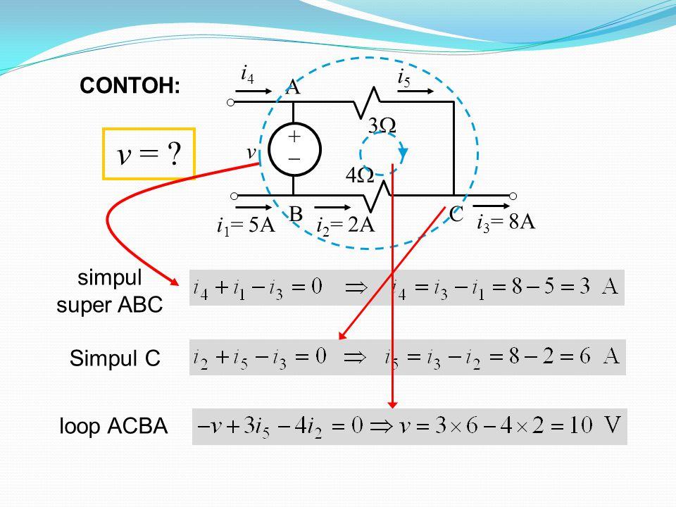 ++ 33 44 v i 4 i 1 = 5A i 3 = 8A A BC i 5 i 2 = 2A simpul super ABC Simpul C loop ACBA v = ? CONTOH: