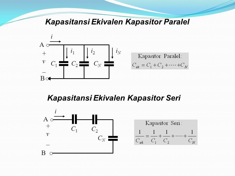 Kapasitansi Ekivalen Kapasitor Paralel C1C1 i1i1 C2C2 i2i2 CNCN iNiN B A + v _ i C1C1 C2C2 CNCN B A + v _ i Kapasitansi Ekivalen Kapasitor Seri