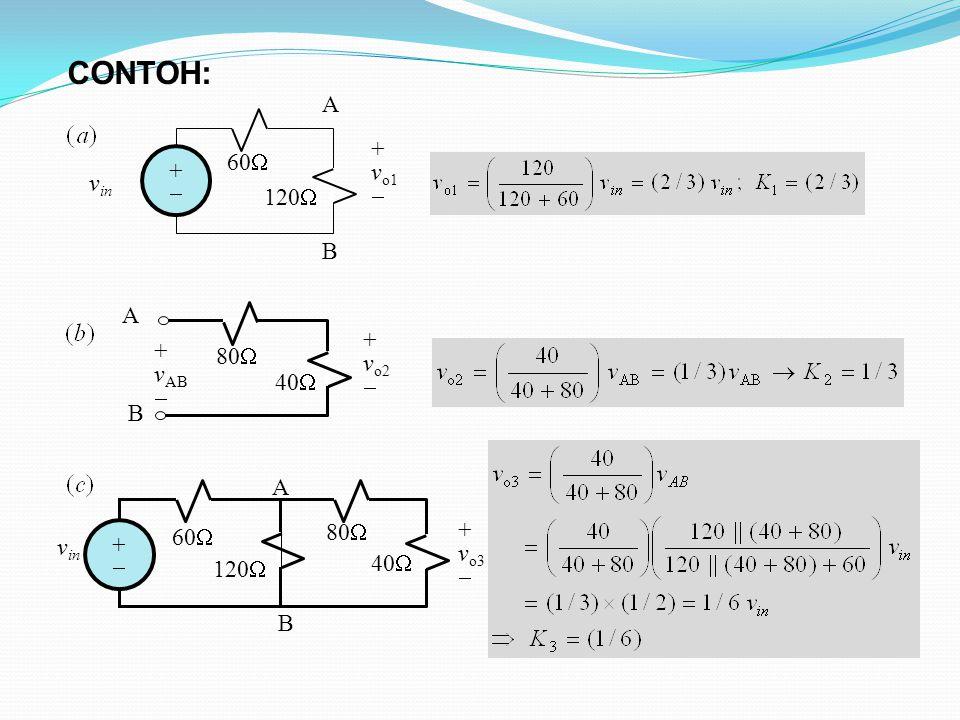 CONTOH: v in ++ 120  60  + v o1  A B A B + v AB  + v o2  80  40  B + v o3  v in ++ 120  60  A 80  40 