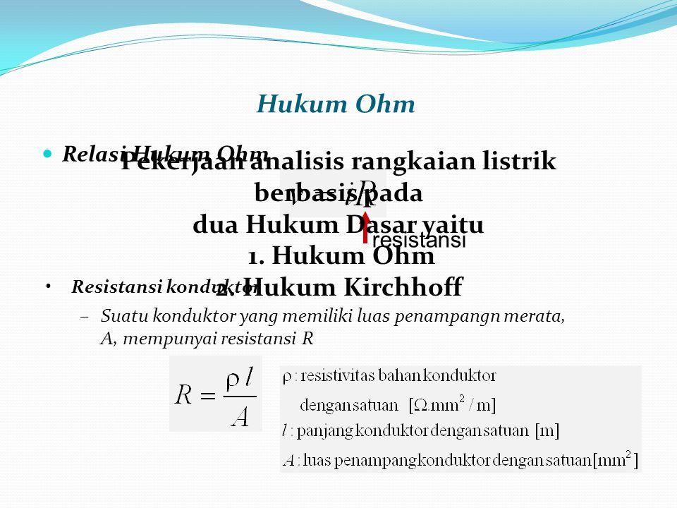 Relasi Hukum Ohm Hukum Ohm Resistansi konduktor –Suatu konduktor yang memiliki luas penampangn merata, A, mempunyai resistansi R resistansi Pekerjaan