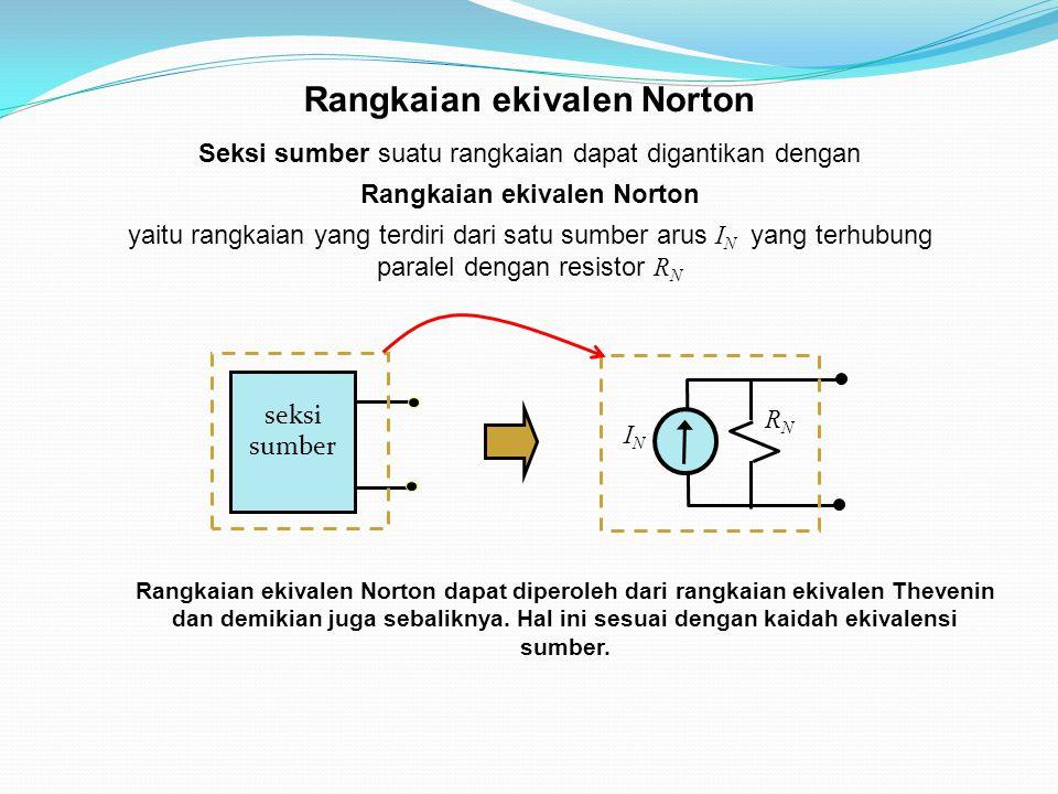 Seksi sumber suatu rangkaian dapat digantikan dengan Rangkaian ekivalen Norton yaitu rangkaian yang terdiri dari satu sumber arus I N yang terhubung paralel dengan resistor R N Rangkaian ekivalen Norton seksi sumber ININ RNRN Rangkaian ekivalen Norton dapat diperoleh dari rangkaian ekivalen Thevenin dan demikian juga sebaliknya.