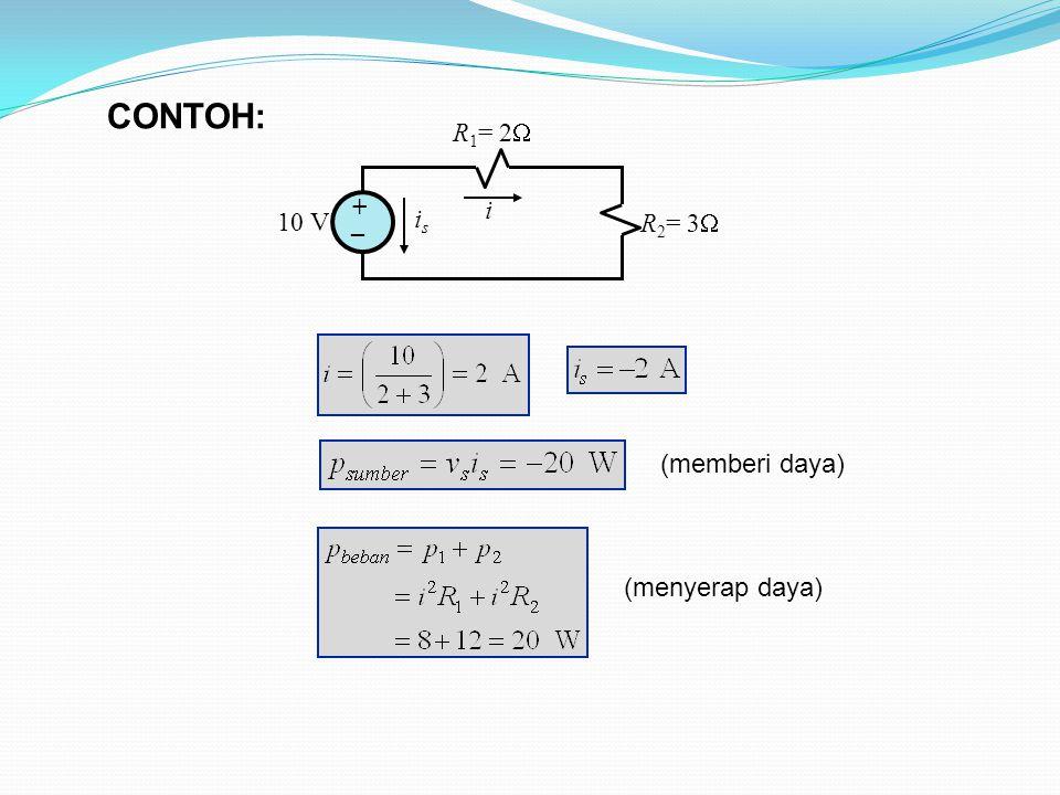 10 V R 1 = 2  R 2 = 3  + _ i isis (memberi daya) CONTOH: (menyerap daya)
