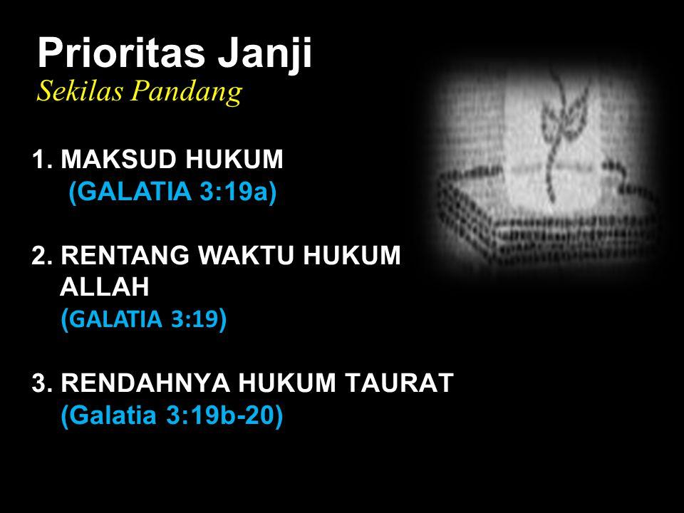 Black Prioritas Janji Sekilas Pandang 1. MAKSUD HUKUM (GALATIA 3:19a) 2.