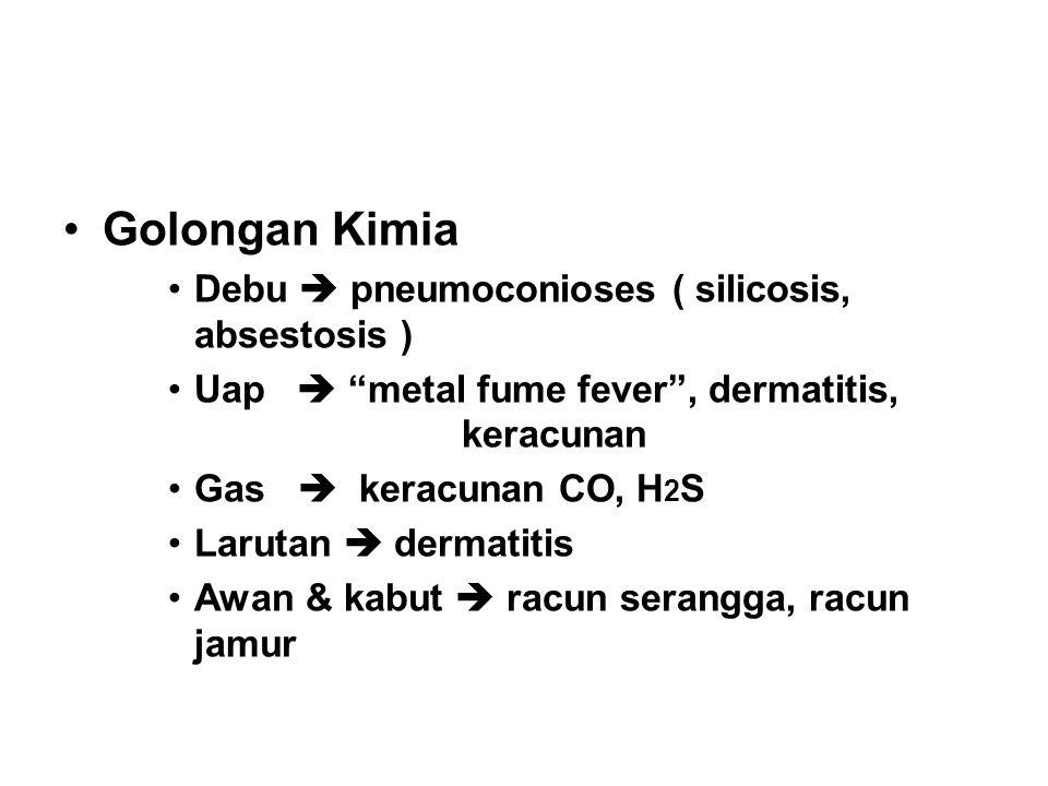 "Golongan Kimia Debu  pneumoconioses ( silicosis, absestosis ) Uap  ""metal fume fever"", dermatitis, keracunan Gas  keracunan CO, H 2 S Larutan  der"